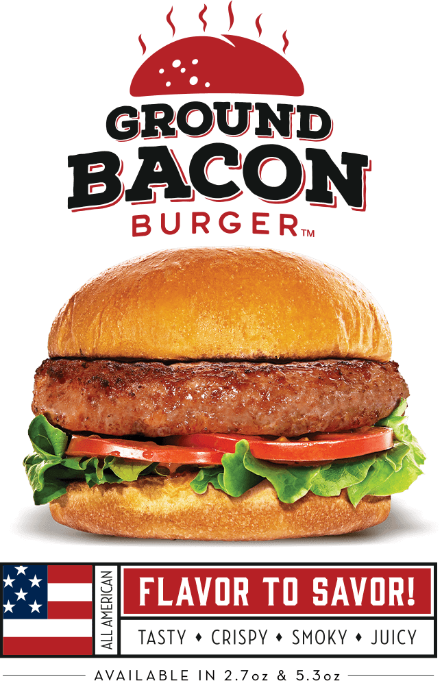 Showcase_Image_of_the_Ground_Bacon_Burger_displayed_prepared_and_presented_by_logo_and_american_flag_graphic
