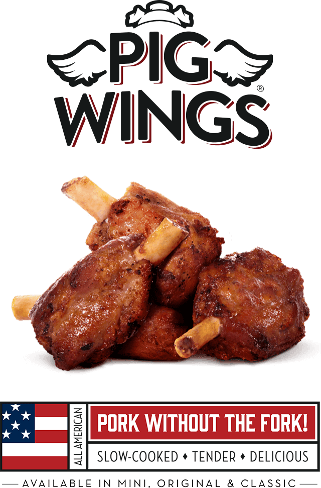 Showcase_Image_of_the_Pioneer_Meats_Pig_Wings_displayed_prepared_and_presented_by_logo_and_american_flag_graphic